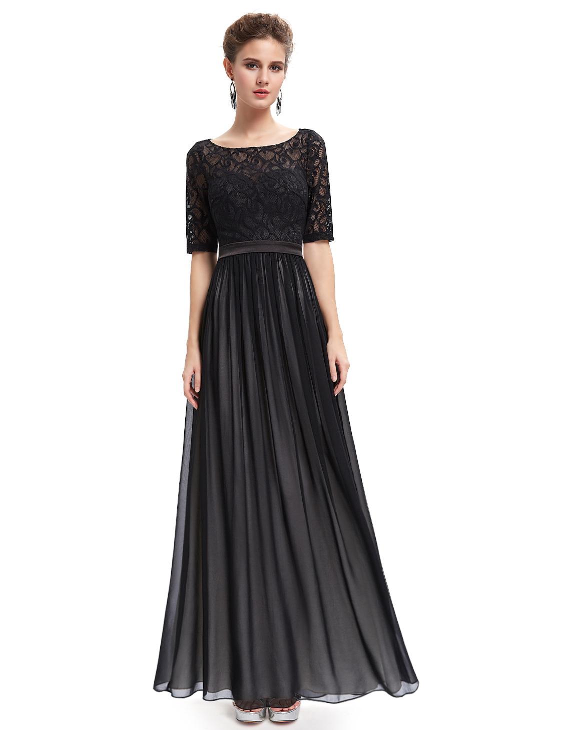 Платье черное с кружевом