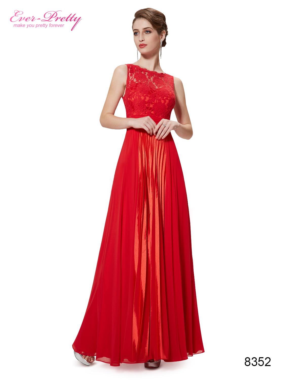 Длинное платье красное шифоновое