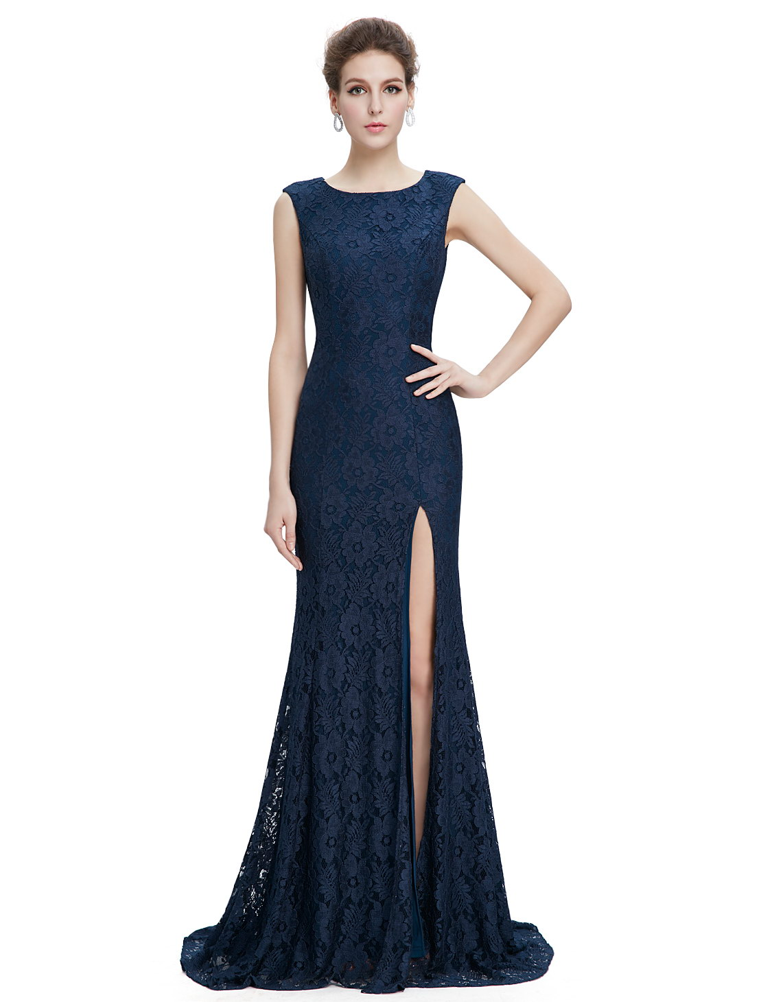 Темно-синее кружевное платье фото