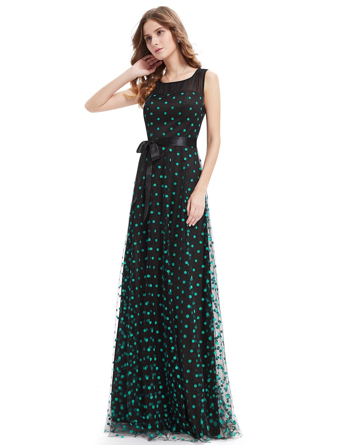 Платье черное в зеленый горох