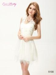 Кремовое платье мини из кружева, атласа и фатина