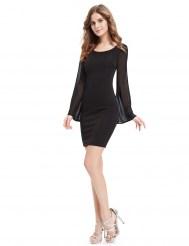 Черное облегающее платье с шифоновыми рукавами