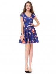Темно-синее эластичное платье мини с цветочным принтом