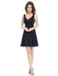 Темно-синее эластичное платье с двойным V-образным вырезом