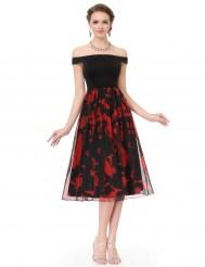 Черно-красное платье с лёгким шифоновым подолом