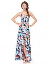 Яркое эластичное платье с разрезом и шнуровкой
