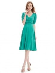 Бирюзовое повседневное платье с коротким рукавом