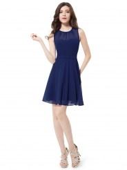 Темно-синее коктейльное платье из шифона