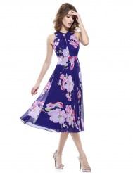 Легкое синее шифоновое платье с цветочным принтом