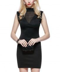 Короткое черное облегающее платье с прозрачными вставками