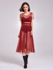 Платье из мягкого фатина со сборкой на талии
