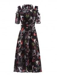 Черное шифоновое платье с ярким принтом и кружевом