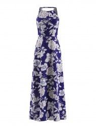 Длинное синее платье с белым цветочным принтом