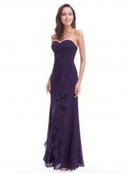 Фиолетовое шифоновое платье с оборкой и без бретелей