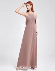 Шифоновое платье светлого кофейного оттенка с оборкой