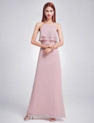 Светло-лиловое шифоновое платье с двойной оборкой