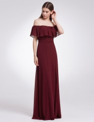 Бордовое шифоновое платье с разрезом и оборкой на груди