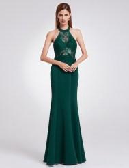 Тёмно-зелёное длинное платье с кружевным верхом и открытой спиной