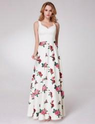 Длинное белое платье с принтом