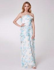 Белое платье с голубым цветочным принтом, оборками и завязками на шее
