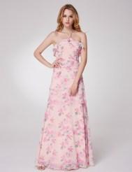 Нежно-розовое платье с цветочным принтом, оборками и завязками на шее