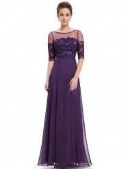 Фиолетовое вечернее платье с вышивкой