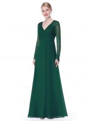 Элегантное зеленое платье с кружевными рукавами