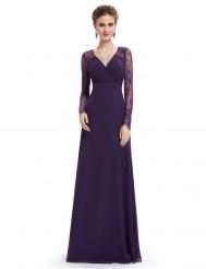 Элегантное фиолетовое платье с кружевными рукавами