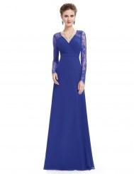 Элегантное синее платье с кружевными рукавами