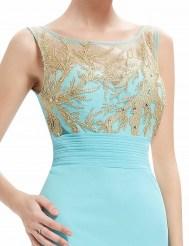 Бирюзовое платье с вышивкой из золотистых нитей
