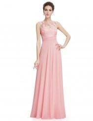 Нежно-розовое шифоновое платье с вышивкой
