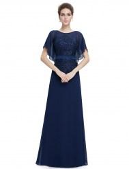 Темно-синее платье с рукавами