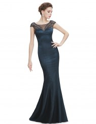 Темно-синее платье силуэт