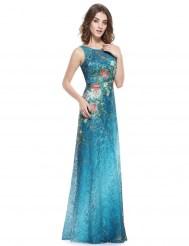 Длинное платье из синего кружева с градиентом и цветным рисунком