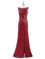 Бордовое кружевное платье с кремовым подкладом и разрезом