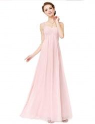 Нежно-розовое шифоновое платье со шнуровкой на спине