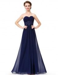 Темно-синее шифоновое платье с аппликацией и шнуровкой на спине