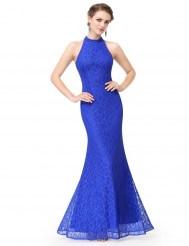 Синее кружевное платье с воротником