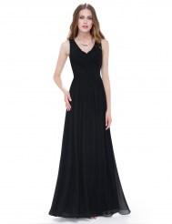 Чёрное платье с драпировкой и шнуровкой на спине