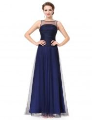 Темно-синее платье, покрытое фатином, со шнуровкой на спине