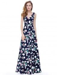 Длинное темно-синее хлопковое платье с принтом