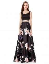 Черная атласная юбка с принтом и топ на шнуровке