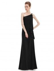 Великолепное черное платье на одно плечо