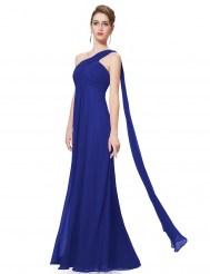 Сапфировое вечернее платье на одно плечо