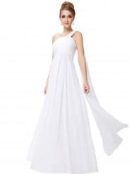 Белое вечернее платье на одно плечо