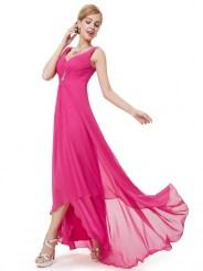 Ярко-розовое вечернее платье с украшением и стразами