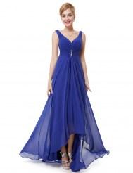Сапфировое вечернее платье с украшением и стразами