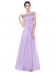 Элегантное сиреневое платье с кружевным верхом