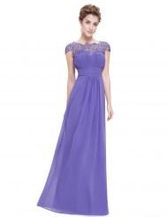 Элегантное лавандовое платье с кружевным верхом