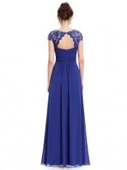 Элегантное сапфировое платье с кружевным верхом